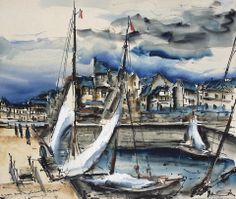 Maurice de Vlaminck (1876 — 1958, France) The Port of Honfleur. watercolor, ink and gouache on paper. 47 x 55 cm. (18 ½ x 21 5/8 in.)