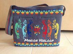 Kokopelli Mochila bag, 7 colours so crochet over 6 threads,   cotton, 125 gram per 50 gram, 2.5mm hook