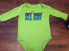 NEW Baby Boy Nike Long Sleeve Shirt My Way All Day - Size 0/3 months