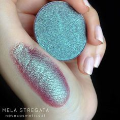 "Neve Cosmetics (@nevecosmetics) on Instagram: "" MELA STREGATA eyeshadow A compact duochrome shade in fuchsia purple with aqua green shimmers✨…"""