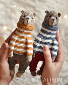 Crochet Animal Amigurumi, Crochet Bear, Cute Crochet, Amigurumi Toys, Halloween Crochet Patterns, Crochet Patterns Amigurumi, Sewing Stuffed Animals, Stuffed Toys Patterns, Fingering Yarn