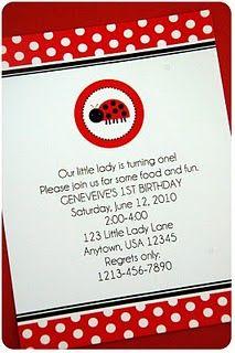Printable Little Ladybug Collection- invitations