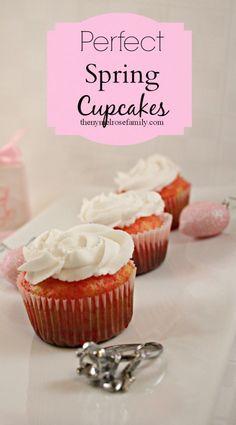 Perfect Spring Cupcakes via thenymelrosefamily.com #desserts #cupcakes