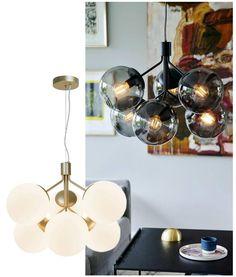 White or smoked glass pendants Pendant Lighting, Ceiling Lighting, Globe Lights, Brass Metal, Glass Pendants, Living Spaces, Shades, Home Decor, Drop Ceiling Lighting