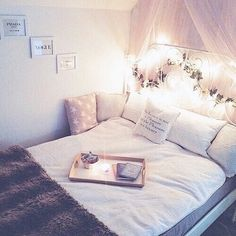 Image via We Heart It #bed #bedroom #cozy #decor #diy #girl #girly #inspiration #Lazy #lights #pillows #pink #pretty #room #sleep #teenage #tumblr #girlyroom #teenageroom #tumblrroom #roomspiration