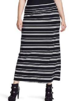 AVA & VIV PLUS SZ 3X 24W- 26W MAXI SKIRT BLACK N WHITE STRIPES WOMEN MSRP $24.99 #AVAVIV #Maxi