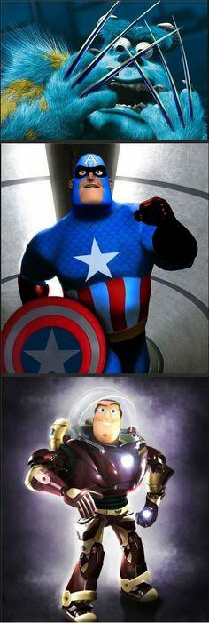 Personagens da Pixar transformados nos herois da Marvel #Marvel