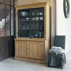 Mix-and-match furniture & decor Industrial Furniture, Furniture Decor, Dining Room Walls, Living Room, Cover Gray, Chair Covers, Black Wood, Home Collections, China Cabinet