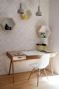 77 Gorgeous Examples of Scandinavian Interior Design Scandinavian-office-with-geometric-wall