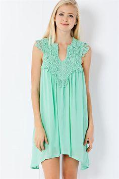 Crochet Lace Gathering Dress - Mint