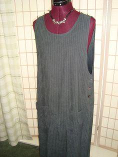 Erika Studio Sz M Women's Charcoal Gray Striped Faux Brushed Suede Shift Dress #ErikaStudio #Shift