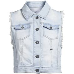 ONLY Denim Destroyed Waistcoat (32 AUD) ❤ liked on Polyvore featuring outerwear, vests, jackets, tops, shirts, light blue denim, denim vest, denim waistcoat, light blue denim vest and button vest