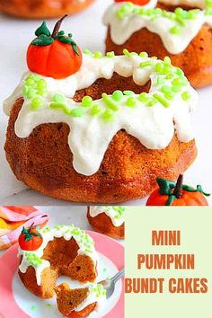 Moist and light mini Pumpkin Bundt Cake Recipe covered with a silky and smooth cream cheese icing! #greedyeatsblog #pumpkincake #bundtcake #minibundts #minicakes #easycakes #pumpkinrecipes #pumpkindesserts #pumpkinbundtcake #minibundtcake
