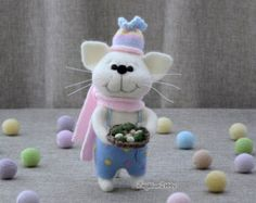Needle felted cat, Needle felted animal, Home decor, Felting, Soft sculpture, Fiber Art, Gift.  Today is the town fair, everyone is well-dressed