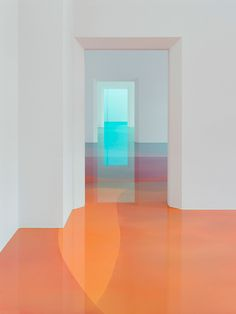 Peter Zimmermann - The installation consists of several white-painted rooms where bright abstract artworks on the wall appear quite harmlessly traditional, but upon entering the spaces, the guest is confused by the highly reflective floors that not only seem to interact with the paintings, but also make the guests feel part of the art itself.