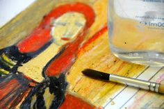 Modigliani style with oil pastels and baby oil for blending