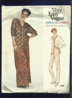 Vintage Vogue 2182 Designer Oscar de la Renta deep cut dolman sleeve jacket , taper leg pants and evening length skirt CIRCA 1970s  SIZE…12…see the sizing chart for measurements  PATTERN CONDITION CUT/COMPLETE********TAPE ON THE PATTERN FROM LENGTHENING  ENVELOPE CONDITION/ worn, torn, and or wrinkled corners and edges/pen marks/discolored/   ***********************PLEASE NOTE ********************** ******THIS IS A SEWING PATTERN***NOT A FINISHED GARMENT***   SIZE.......