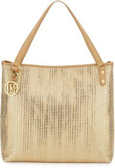 Love Moschino Borsa Metallic Woven Pvc Tote Bag in Gold (GOLD/BEIG) - Lyst