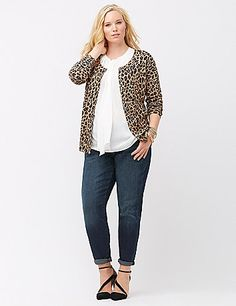 Soft, comfy and work-through-weekend versatile, the crew neck cardigan tops it all. A true classic made fresh for now in so-hot animal print, you'll love the cozy knit and timeless fit featuring button-front closure and long sleeves, with ribbed trim throughout. lanebryant.com
