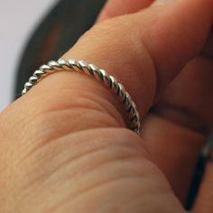 Silver Thumb Ring Twisted Rope Stacking Ring by thebeadgirl @Gail Mounier Jewel