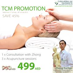Book your TCM PACKAGE and save more than 400 AED.  Price: 499 AED (value 900 AED) Package content:  1 x consultation with Zhong Yuchao (must be redeemed between 11.07 and 28.07)  3 x Acupuncture