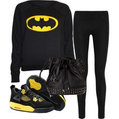 """Batman"" by alymariee on Polyvore #batman #thedarkknight #comfy #jordans #black #yellow #studs"