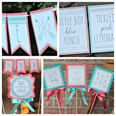 "Tribal / Aztec / Boho Chic Gender Reveal Party Decorations. ""Bows or Arrows"" Boutique 4 piece party decor box. Customizable."