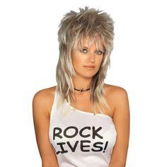 Halloween Adult Rocker Costume Wig Blonde Yellow