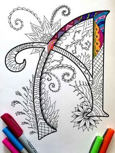 Each letter of the alphabet is a gorgeous and unique zentangle design to color. These A-Z zentangle coloring pages are great for classroom or home. Mandala Art, Doodles Zentangles, Zentangle Patterns, Colouring Pages, Coloring Books, Drawn Art, Hand Drawn, Letter Art, Alphabet Letters