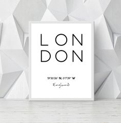 Printable London Poster, London Coordinates Art, City Print, England London City Poster, London City Coordinates INSTANT DOWNLOAD