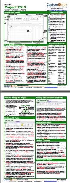 Free Project 2013 Quick Reference Card. http://www.customguide.com/cheat_sheets/project-2013-cheat-sheet.pdf