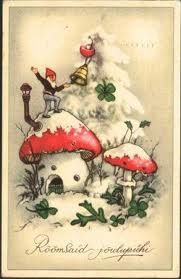 Gnome's mushroom house in the snow with 4 leaf clover - vintage postcard Decoration Christmas, Noel Christmas, Vintage Christmas Cards, Christmas Images, Vintage Cards, Vintage Postcards, Christmas Crafts, Holiday Decorating, Christmas Presents