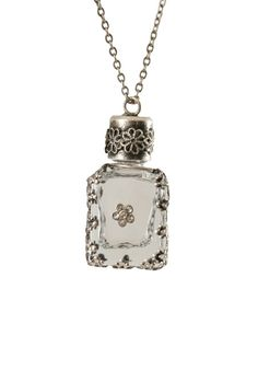 Charm Necklace - Antique Silver with Clear Perfume Vial