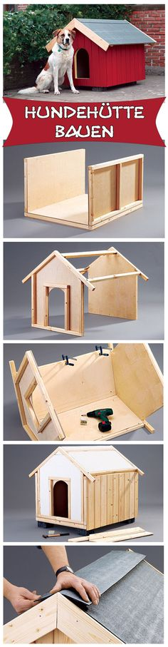 Build kennel yourself- Hundehütte selber bauen A doghouse is a perfect retreat for your four-legged friend. We show how to build the little hut for the garden. Just build it – your dog will be happy! Dog Crate Table, Diy Dog Crate, Woodworking For Kids, Woodworking Plans, Woodworking Projects, Woodworking Tools, Intarsia Woodworking, Woodworking Techniques, Build A Dog House