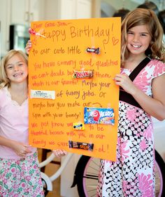 This family makes candy bar posters for everyone's birthday and also makes a list of things they love about that person. We are doing it!