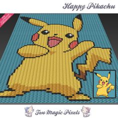 Happy Pikachu inspired c2c graph crochet pattern; instant PDF download; baby blanket, corner to corner pixel, afghan, graphghan, pixel by TwoMagicPixels, $3.99 USD