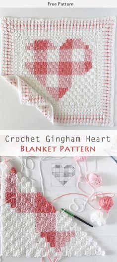 Crochet Gingham Heart Blanket Free Pattern