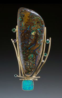 "Pin | Ruthie Cohen.  ""Bertha"".  Yowah Nut Australian Boulder Opal, 14 & 18k gold, sterling silver, blue and white diamonds, tourmaline, amethyst and iolite."