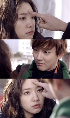 """In the new tvN Monday Tuesday drama """"Next Door Flower Boy,"""" Yoon Shi Yoon was seen pressing on Park Shin Hye's forehead."""