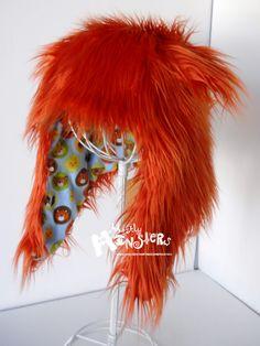 Fuzzy Monster Aviator hat Super plushie Autumn by MostlyMonstersCV, $35.00