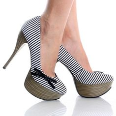 Black-White-Canvas Nautical Stripes Womens High Heel Platform Shoes ~ $19.99! Seriously??? Like 20 bucks?! Yes.. Thank you!  discountwomensdressshoes.com
