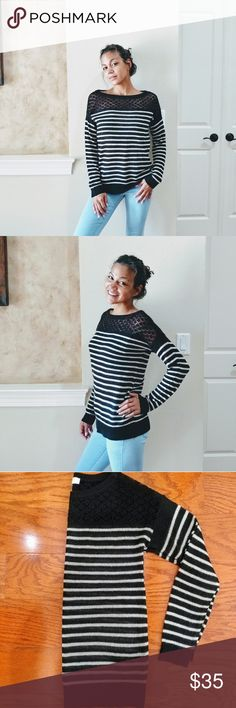 LOFT Black & White Baggy Knit Sweater This black & white striped knit sweater is light yet cozy. The neckline and shoulders is a black open weave. It is in EXCELLENT condition.  Quick Shipping, SAME DAY or NEXT BUSINESS DAY - Ships from Florida ☀️ I care about the items I share. All garments come from a pet free and smoke free environment. Make me an offer! LOFT Tops