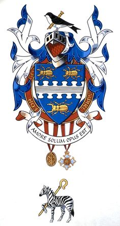 George Martin was the Beatles' record producer. He was knighted in 1996. This is his Coat of Arms - much significance is given to the symbolism by those that believe that Paul was replaced. If you study it you see that there are only 3 beetles, the shield is puzzle pieces, on either side of the helmet are two giant cartoon hands giving the finger, the zebra is holding a shepherd's crook. From the official College of Arms…