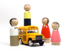 Fair Trade // The Sunday Family // Four Wooden Peg Dolls for your Modern Doll House - Wooden Toys. $32.00, via Etsy.