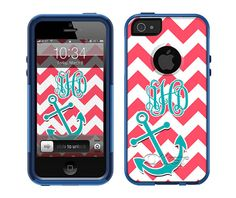 OTTERBOX Commuter iPhone 5 5S 5C 4/4S Case Chevron Anchor 3 Letter Initials Personalized Monogram on Etsy,