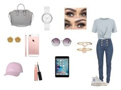 """""""set #1"""" by dajahknox109 ❤ liked on Polyvore featuring Balmain, T By Alexander Wang, Converse, Givenchy, Monki, DKNY, Accessorize, Miriam Haskell and Laura Geller"""