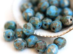 6mm  Picasso beads Dark Turquoise Blue czech glass by MayaHoney
