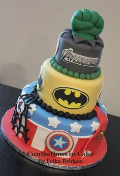 Super Hero Cake - Batman, Captain America, Incredible Hulk, Avengers, Superman, Spiderman