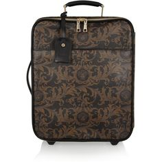 Versace Baroque-print leather suitcase (4.090 BRL) ❤ liked on Polyvore featuring bags, luggage, suitcase and travel