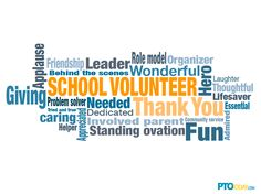 Word cloud captures what a school volunteer is all about.